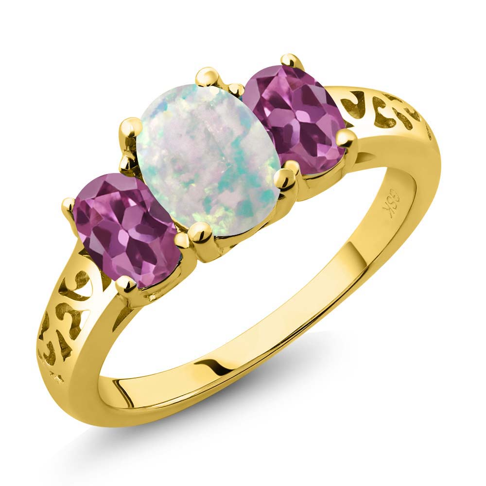 2.05 Ct Oval Cabochon White Simulated Opal Pink Tourmaline 18K Yellow Gold Ring by