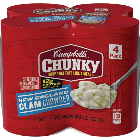 Campbell's Chunky New England Clam Chowder, 18.8 oz. (4 - 18 Oz Chowder Bowl