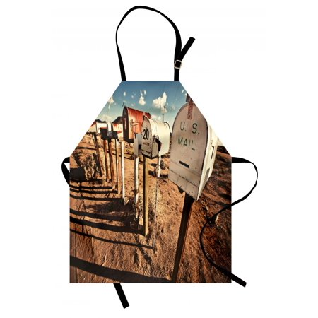 United States Apron Old Mailboxes in West America Rural Rusty Landscape Grunge Countryside, Unisex Kitchen Bib Apron with Adjustable Neck for Cooking Baking Gardening, Brown Blue White, by Ambesonne