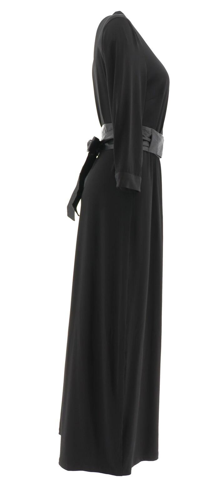 BROOKE SHIELDS Timeless Knit Maxi Dress Belt Black XL NEW A341956