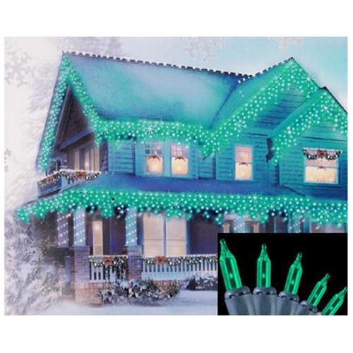 Set of 100 Teal Green Mini Icicle Christmas Lights - Green Wire