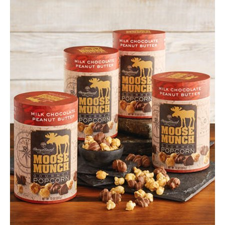 Moose Munch Peanut Butter Chocolate Premium Popcorn Tins by Harry & David (4 Pack) - Harry And David Halloween Cookies