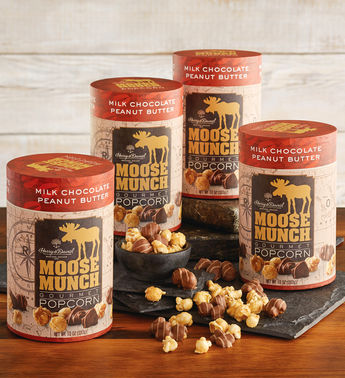 Moose Munch Peanut Butter Chocolate Premium Popcorn Tins by Harry & David (4 Pack)