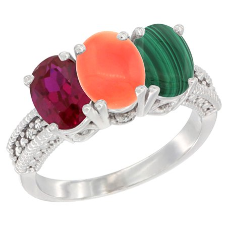 14K White Gold Enhanced Ruby, Natural Coral & Malachite Ring 3-Stone 7x5 mm Oval Diamond Accent, sizes 5 - 10