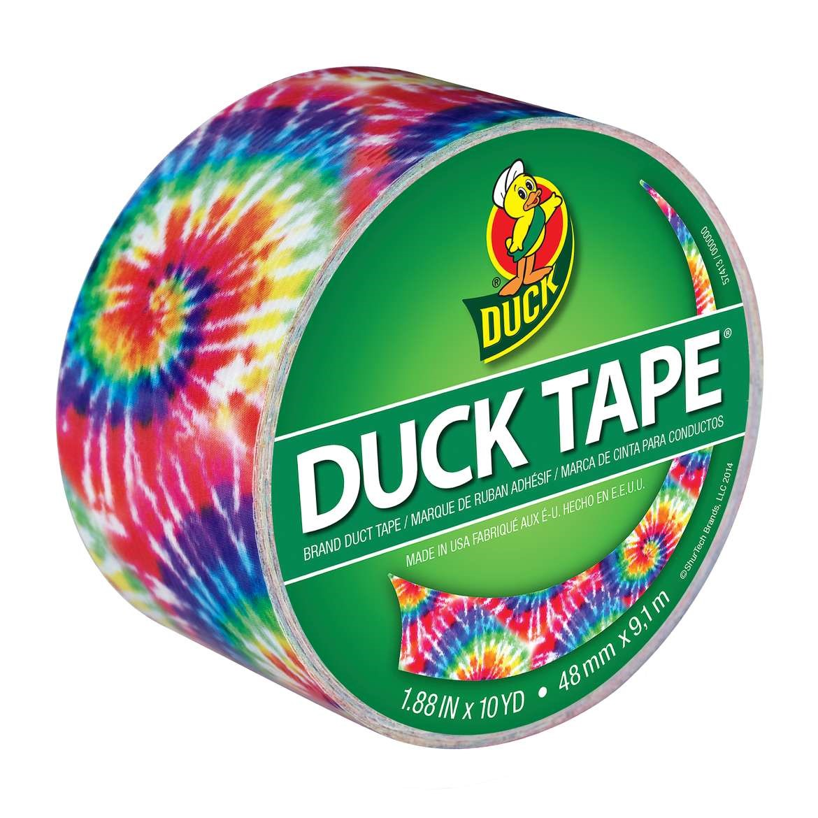 Duck Duct Tape, Love Tie-Dye, 1.88 In x 10 Yd