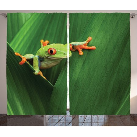 Colour Leaf - Animal Decor Curtains 2 Panels Set, Cute Red Eyed Frog Between Exotic Macro Big Leaves Wild Nature Night Animal Vivid Colors Image, Living Room Bedroom Accessories, By Ambesonne