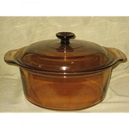 Vintage Corning Ware Visions 5 Quart Amber Pot W Lid Made