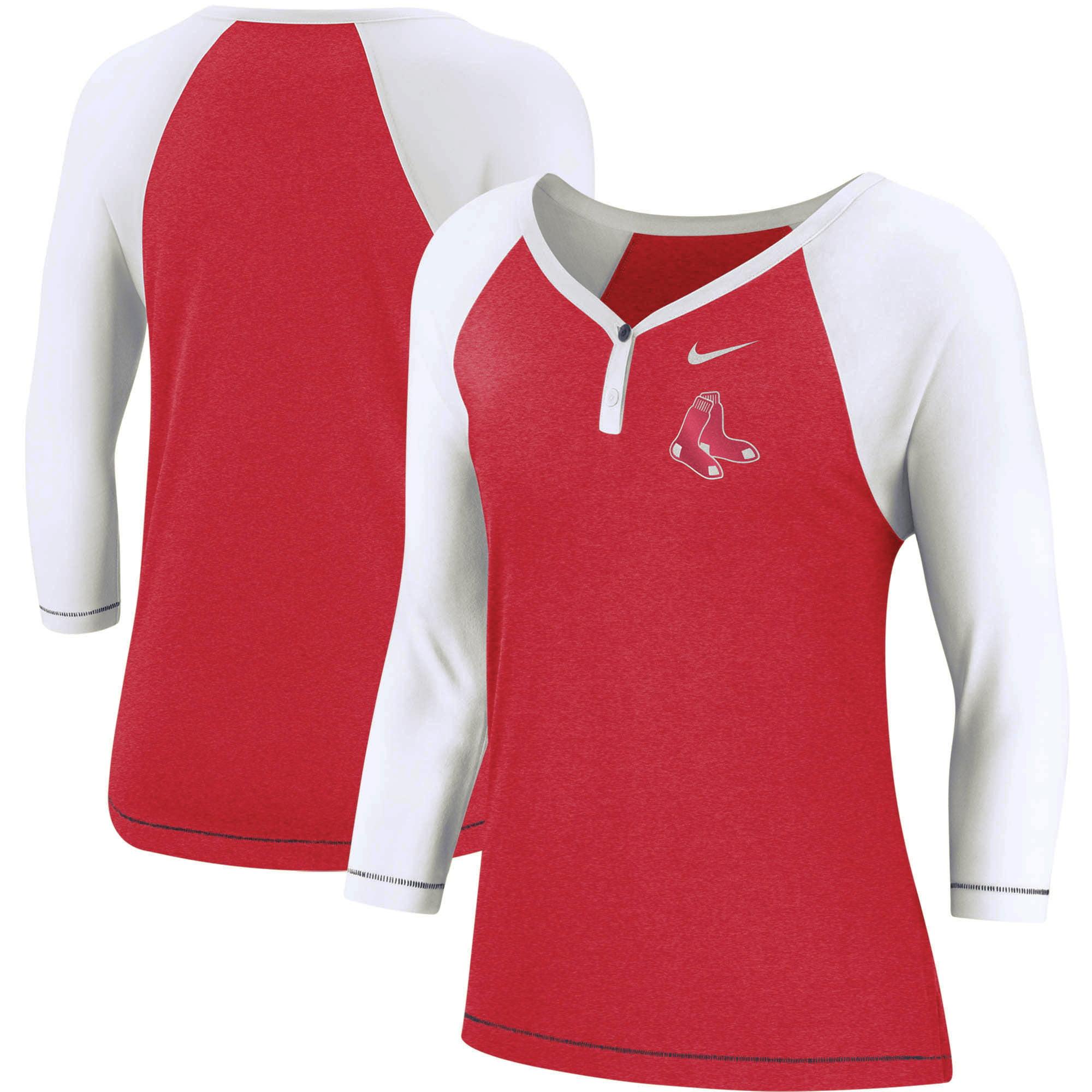 Boston Red Sox Nike Women's Henley 3/4-Sleeve Raglan Tri-Blend Performance V-Neck T-Shirt - Red