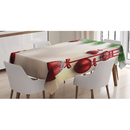 Christmas Decorations Tablecloth, Xmas Winter Season Theme Fir Twigs and Vibrant Balls Graphic Print, Rectangular Table Cover for Dining Room Kitchen, 52 X 70 Inches, Green Red, by Ambesonne](Cowboy Themed Table Decorations)