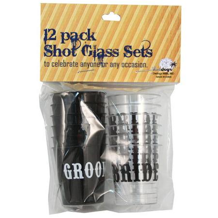 Bride/Groom Shot Glass Set - Pack of 12 (Bride And Groom Shot Glasses)