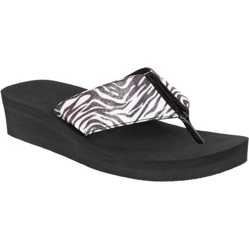 OP Women's Trinidad Zebra Thong Flip Flop Sandal