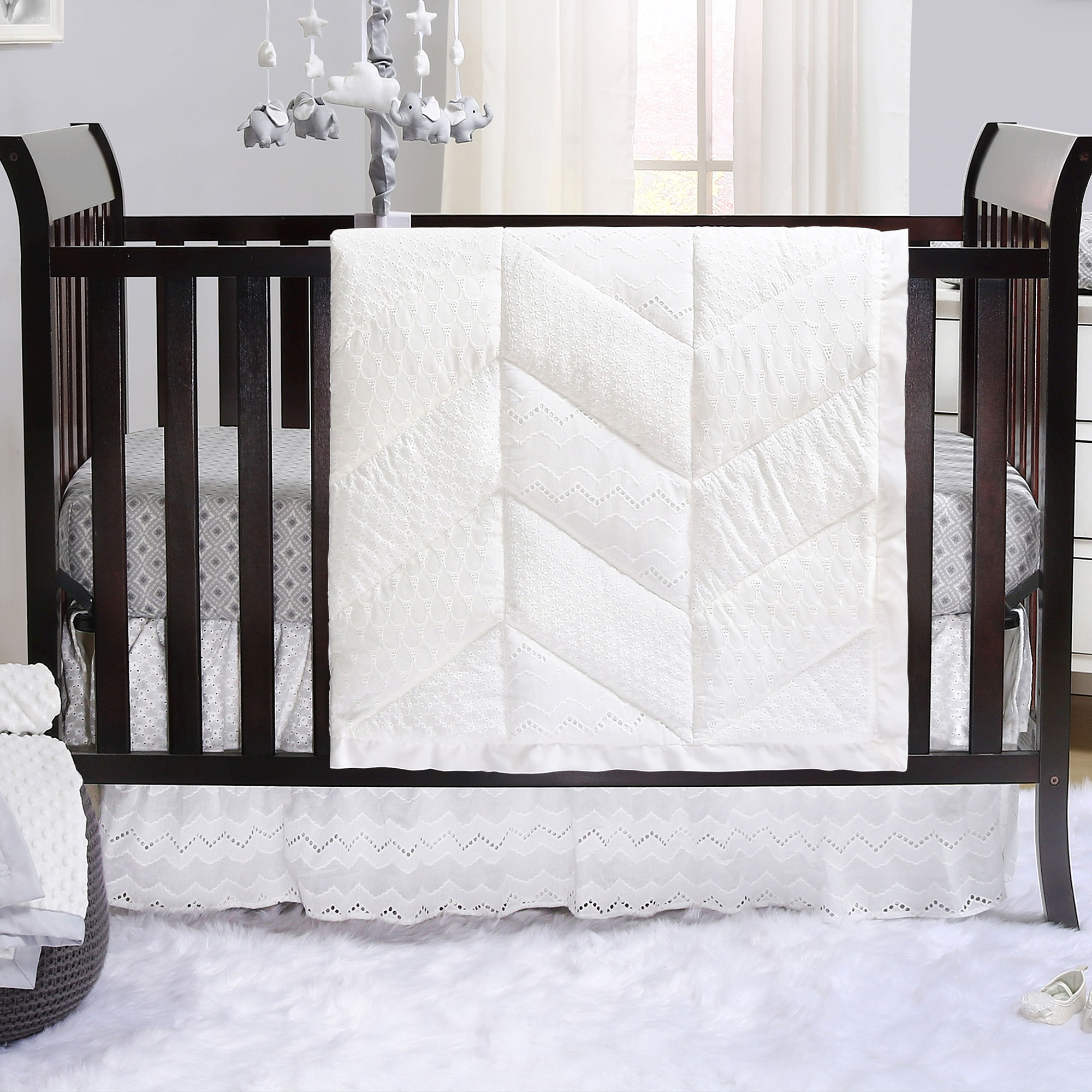 Taylor White Eyelet 3 Piece Baby Crib Bedding Set by The Peanut Shell by The Peanut Shell