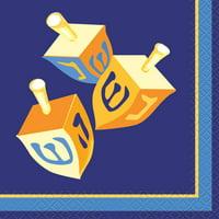 Happy Hanukkah Paper Beverage Napkins, 5in, 16ct