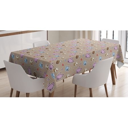 Tea Party Tablecloth, Coffee Bean Kettles and Cupcakes with Heart Frosting on Polka Dotted Background, Rectangular Table Cover for Dining Room Kitchen, 52 X 70 Inches, Multicolor, by Ambesonne](Polka Dot Tablecloth Party City)