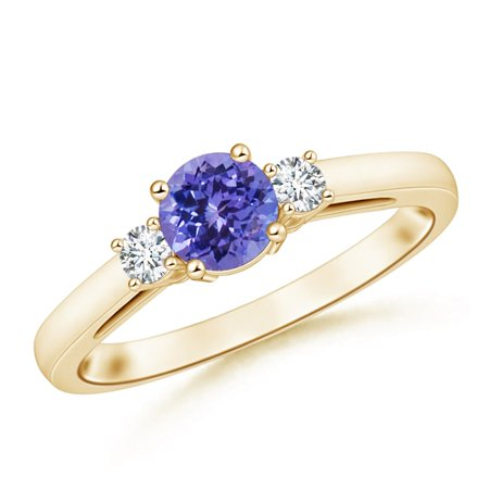 December Birthstone Ring - Round Tanzanite & Diamond Three Stone Engagement Ring in 14K Yellow Gold (6mm Tanzanite) - SR0655TD-YG-AA-6-8.5