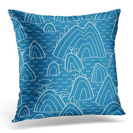 BOSDECO Colorful Abstract Landscape Pattern with Hills Trees Fields and Peaks with Sea Chine Pillowcase Pillow Cover Cushion Case 16x16 inch - image 1 of 1