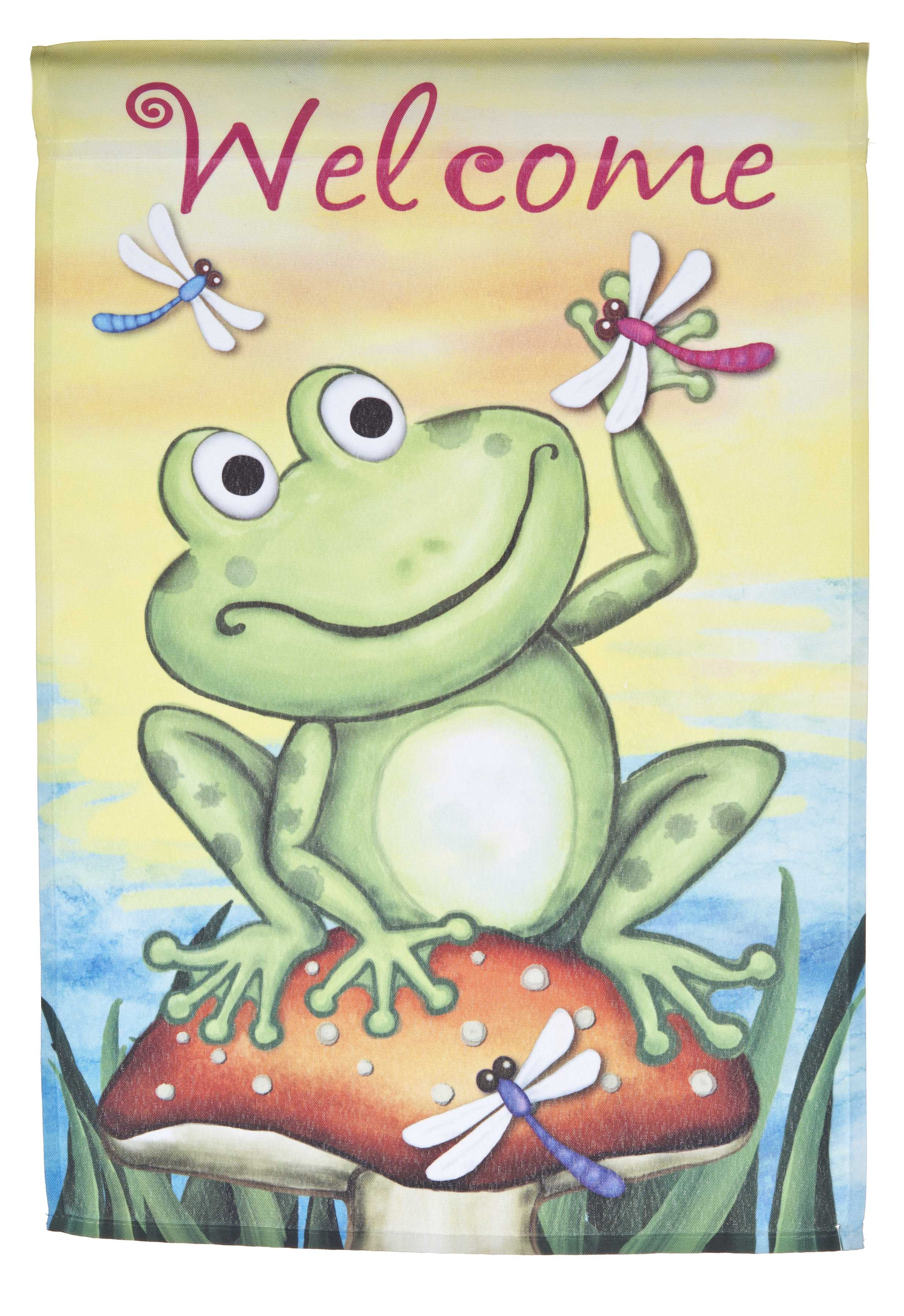 Spring Time Frog Welcome Lawn Flag by Garden Accents (12 x 18 Inch) by