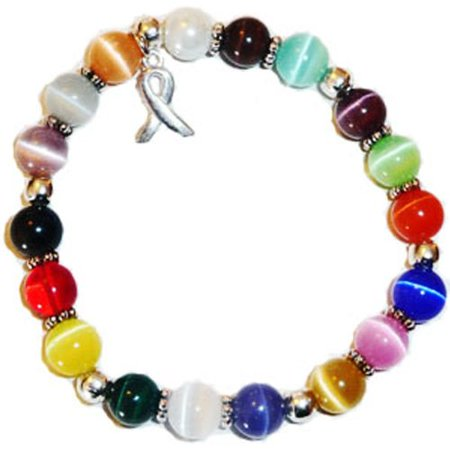 Hidden Hollow Beads Stretchy Multi Cancer Packaged Awareness Bracelet- 8mm beads.  Fits most - Epilepsy Awareness Bracelet