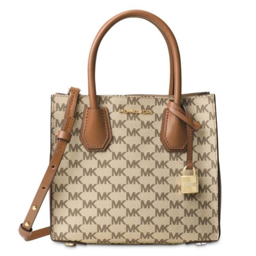MICHAEL Michael Kors MICHAEL KORS Mercer Medium Natural Messenger Crossbody Handbag