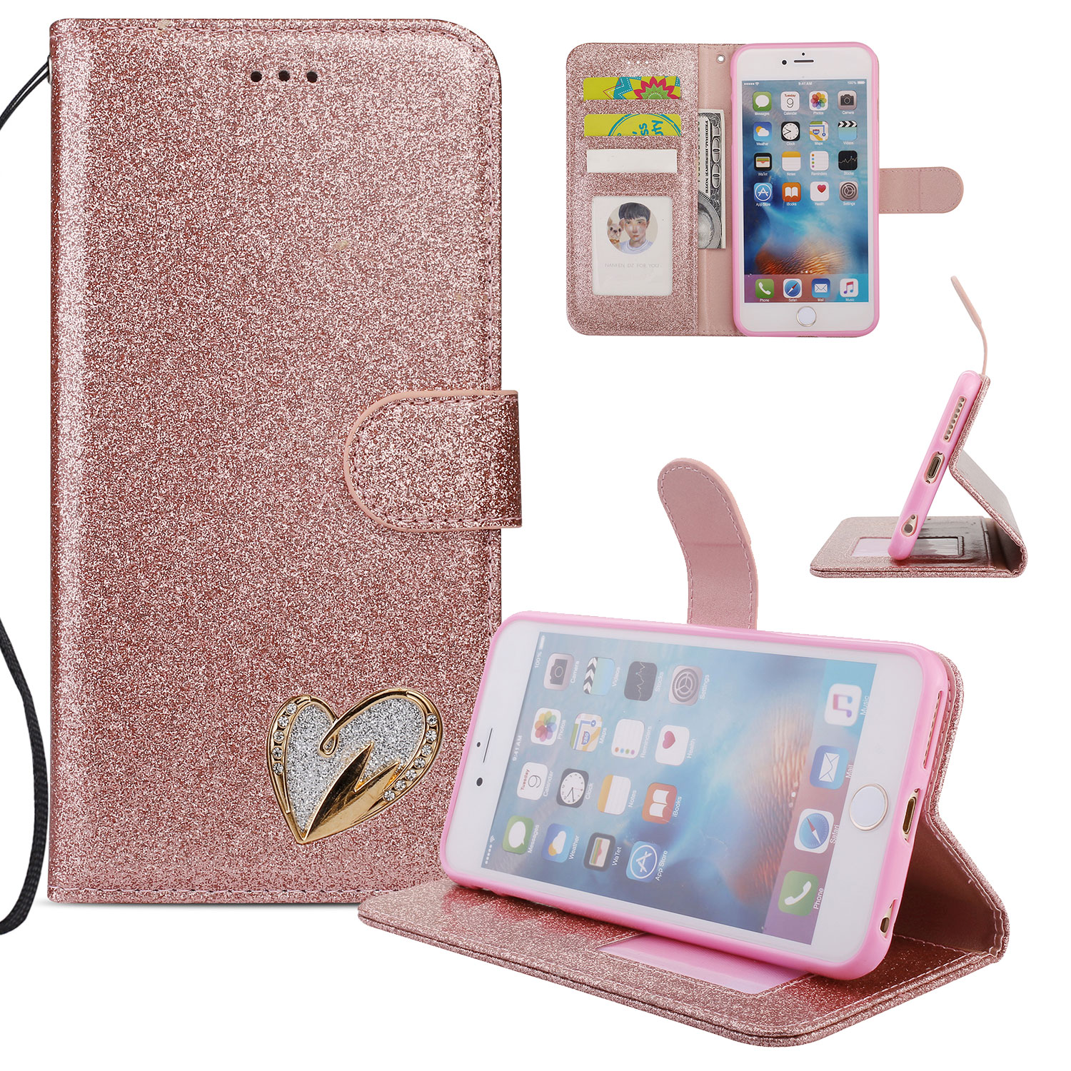 iPhone 6S Plus Case Wallet, iPhone 6 Plus Case, Allytech Glitter Folio Kickstand with Wristlet Lanyard Shiny Sparkle Luxury Bling Card Slots Slim Cover for Apple iPhone 6 Plus/ 6S Plus (Rosrgold)
