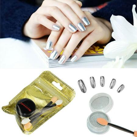 Women Mirror Powder Effect Chrome Nails Pigment Gel Polish