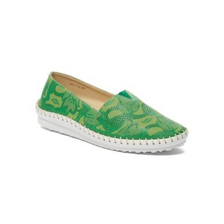 Liyu Adult Green Perforated Stitched Edge Slip-On Espadrille Shoes (Green Clown Shoes)
