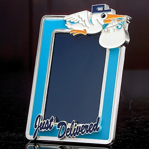 4x6 Just Delivered Stork Baby Newborn Boy Blue Silver-Plated Photo Picture Frame