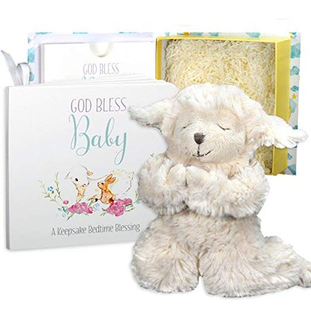 Baby Baptism Gift Set with Praying Musical Lamb and Prayer Book in Keepsake Box for Christening Boys and Girls
