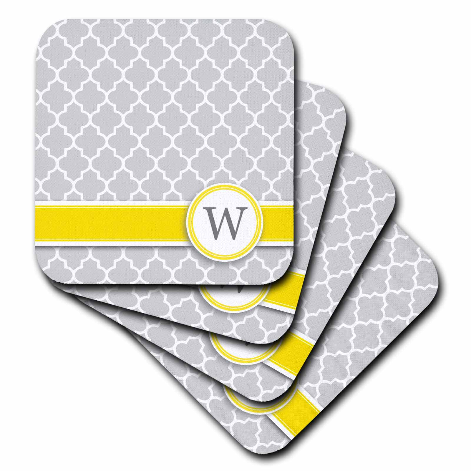 3dRose Your personal name initial letter W - monogrammed grey quatrefoil pattern - personalized yellow gray, Soft Coasters, set of 4