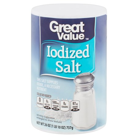 Great Value Iodized Salt 26 Oz Average