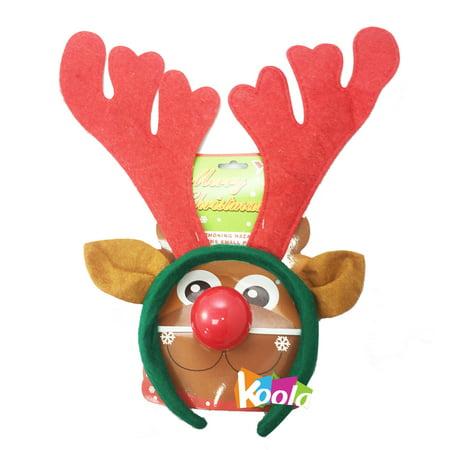 Christmas Deer Reindeer Antlers Horn Headband Fantasy Costume W/Nose](Reindeer Horns)