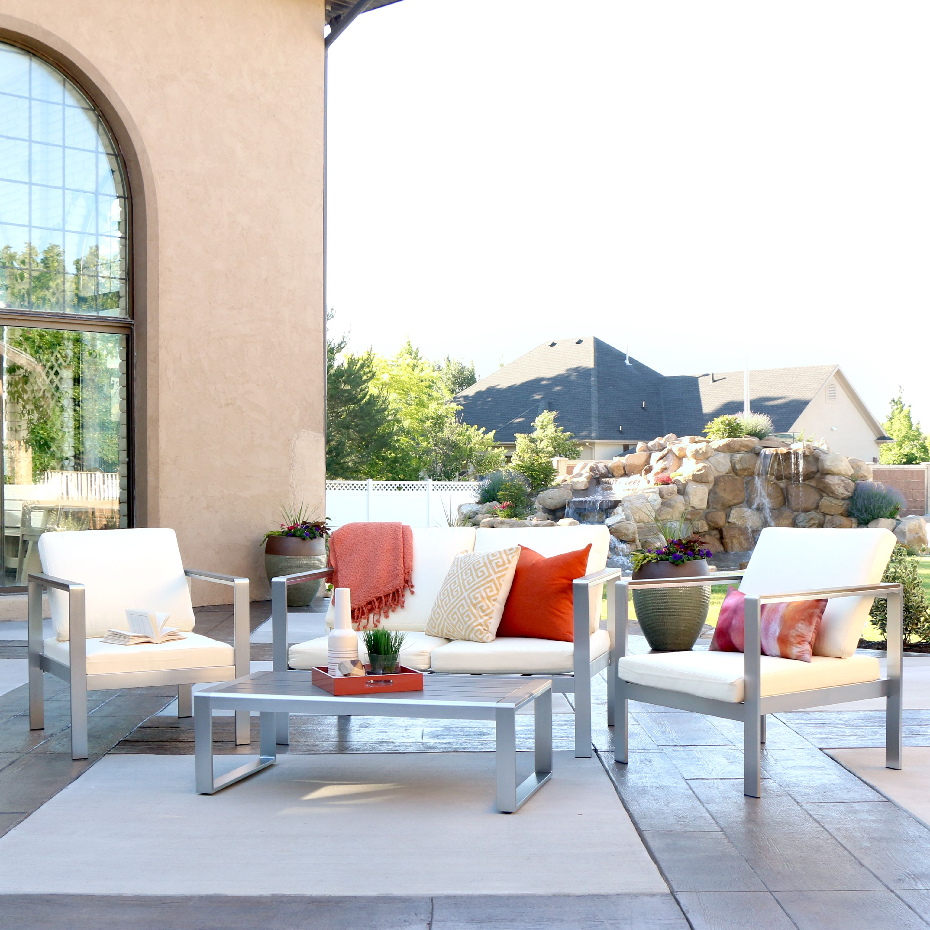Manor Park 4-Piece Modern Aluminum Outdoor Patio Chat Set with Cushions - Silver/Espresso