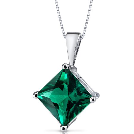 Peora 2.25 Carat T.G.W. Princess-Cut Created Emerald 14kt White Gold Pendant,