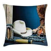 Western Decor Throw Pillow Cushion Cover, Equestrian Backdrop with Antique Horseshoe Hat Cowboy Texas Style, Decorative Square Accent Pillow Case, 20 X 20 Inches, Blue Brown and Beige, by Ambesonne
