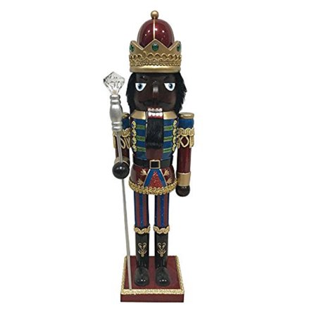 - Regal Black African American King with Crown Wooden Christmas Nutcracker 15 Inch