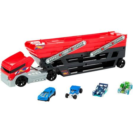 Hauler Truck Rig - Hot Wheels Mega Hauler and 4 Cars Set, Mega Hauler Truck-4 Cars