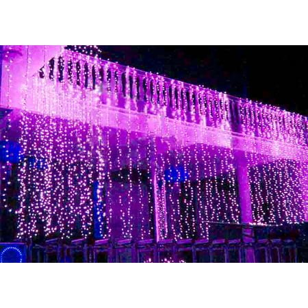 Perfect Holiday 300 led Window Curtain Icicle Lights String Fairy Light Wedding Party Home Garden Decorations 3m*3m, Purple ()