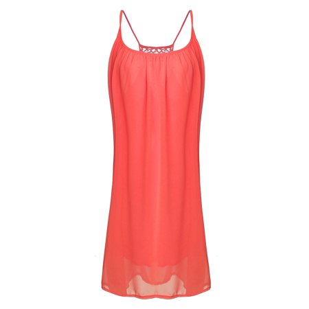 Womens Spaghetti Straps Chiffon Mini Dress Beach Sexy Sundress