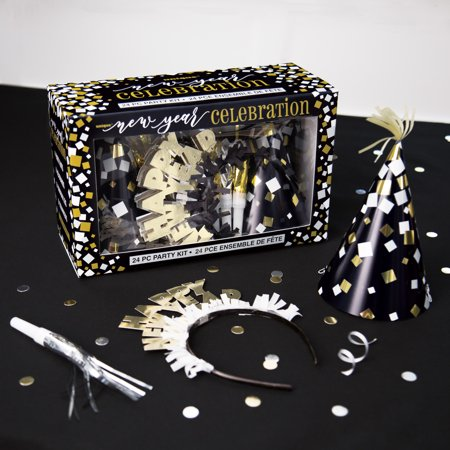 Gold and Silver New Years Eve Party Accessories Kit for 8 ...