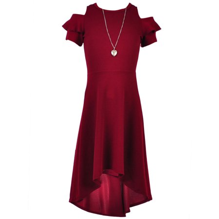 Girls Hearts Girls' Cold Shoulder Dress with Necklace