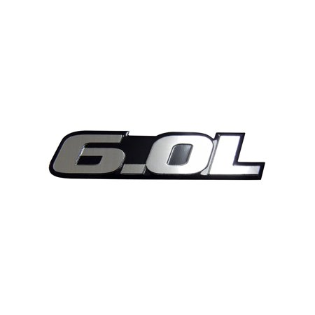 6.0L Liter Engine Silver Aluminum Badge OLD SKOOL Emblem for Pontiac GTO LS2 G8 L76 GMC Yukon Sierra Pick Up Chevy Tahoe Suburban Truck GMC Vortec V8 Ford Excursion F250 Diesel