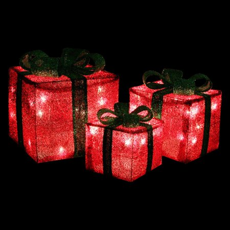Northlight 3 Piece Sparkling Sisal Gift Boxes Pre Lit Christmas Yard Decoration Set](Yard Decorations For Christmas)