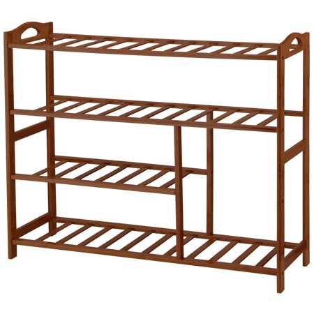 Mllieroo Heavy Duty Shoe Rack 4 Tiers Natural Bamboo Shoe Rack for Closet; Durable Shoe Organizer Bamboo Ring Top Tier