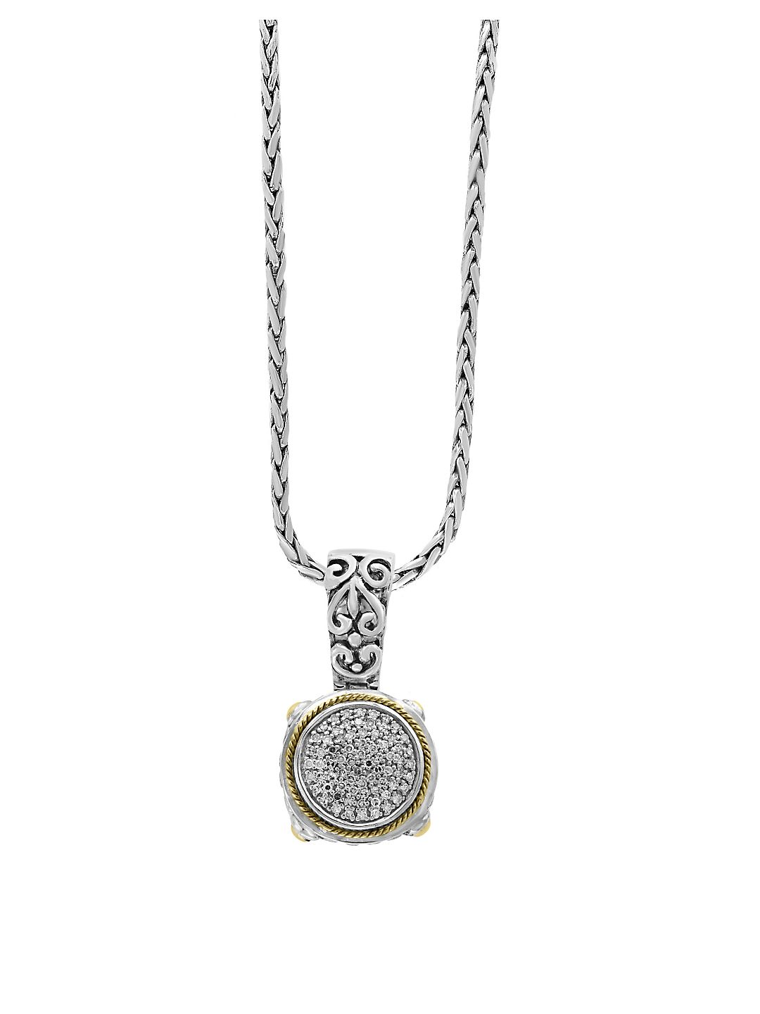 Diamond and Sterling Silver Pendant Necklace