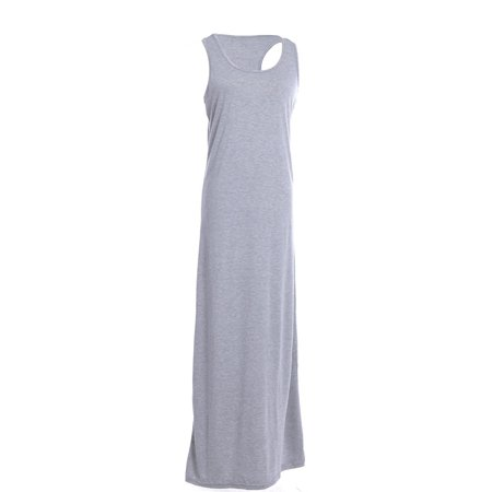 Heather Grey Racerback Tank Dress (S/M Fit Heather Grey Racer Back Tank Top Style Flared Skirt Maxi)