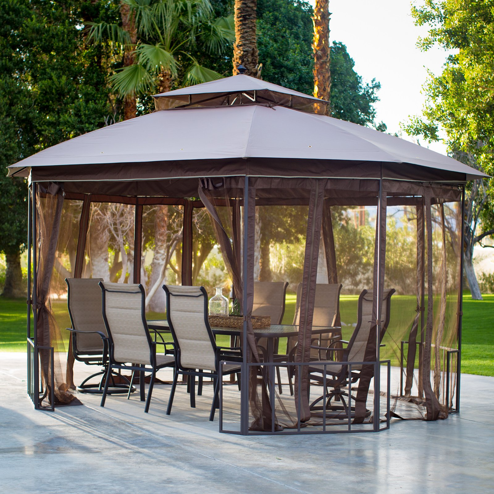 Belham Living Octagon 10 x 12 ft. Gazebo with Curtains by