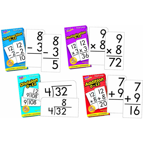 Trend Enterprises Math Operations Flash Cards Pack, Set of 4