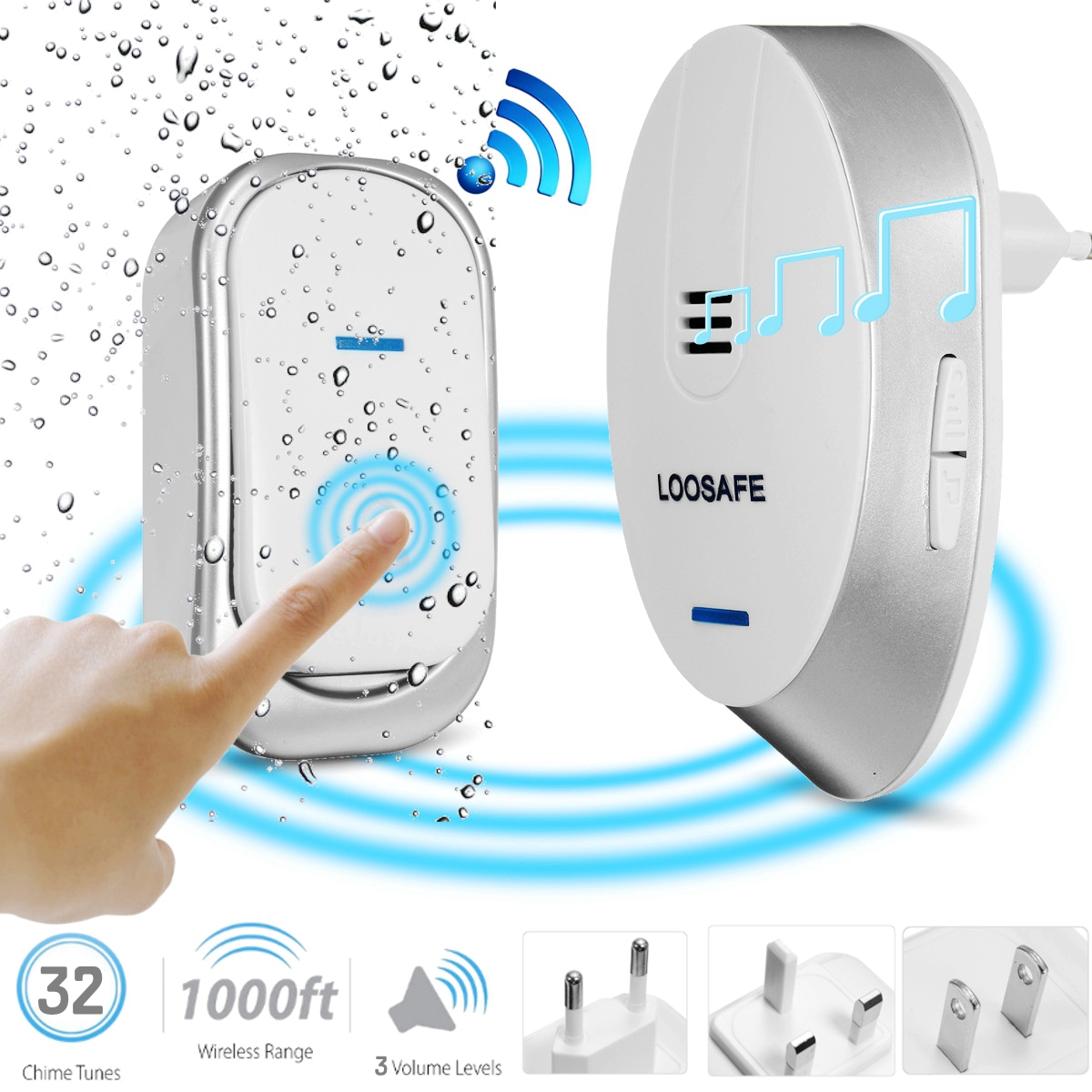 Wireless Doorbell Door Chime Kit Portable Waterproof Door Chime and Push Button with 32 Melodies