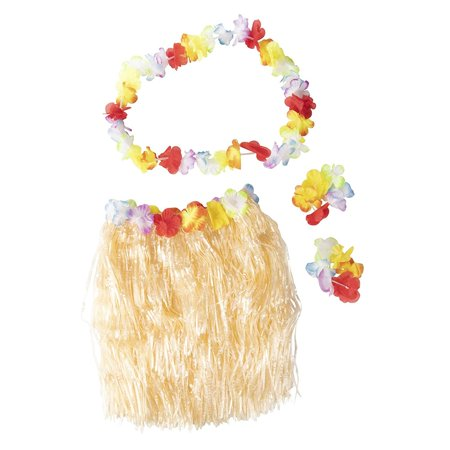 Hawaiian Luau Skirt - 24-Piece Hula Dance Luau Party Supplies Set with 6 Grass Skirts Colorful Silk Faux Hibiscus Flowers, 6 Leis, 12 Bracelets, for Costume Party, Birthday, Performances, Beige ()
