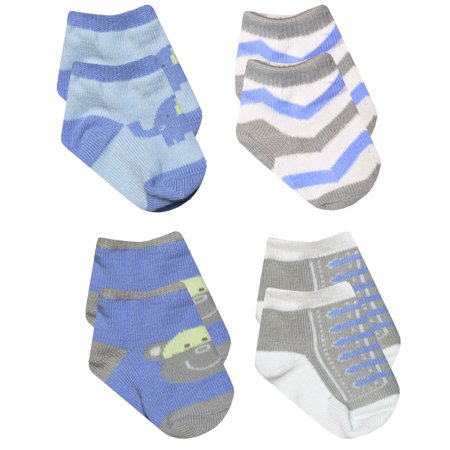 Baby Essentials Boys Blue Elephant Grey Monkey Chevron Sneaker Socks 4 Pack 0-6 Mth - Best Baby Socks - Favorite Unique Newborn Cute Baby Shower Gift Idea](Photo Ideas For Newborn Boy)
